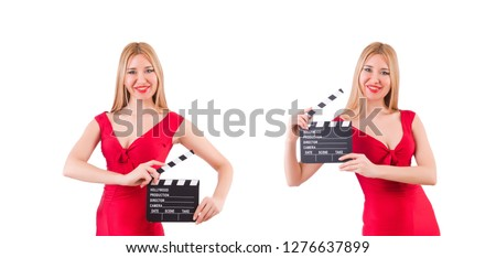 Woman with clapperboard isolated on white #1276637899