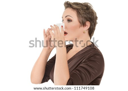 ... cold or flu sneezing into tissue over white background - stock photo