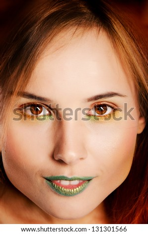 Woman with color makeup