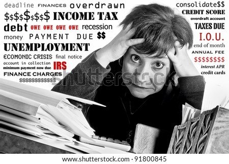 Woman with crazed expression working on income tax return and household finances, while surrounded by text of her worries