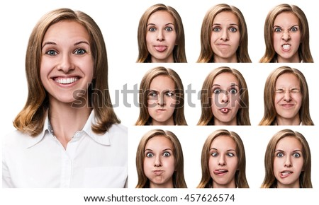 Woman with different facial expressions #457626574