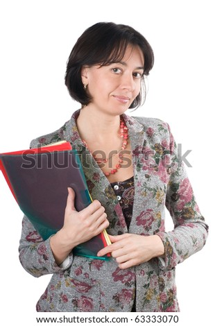 Woman with documents in hand, isolated on a white background