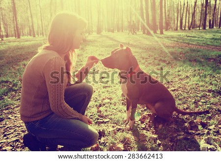 Woman with dog in park walking and playing
