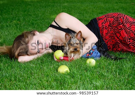 Woman with dog in the park