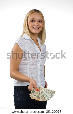 woman with dollar bills - stock photo