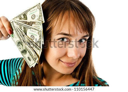 woman with dollars on a white background