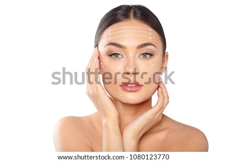 woman with dotted lines on face Stock foto ©