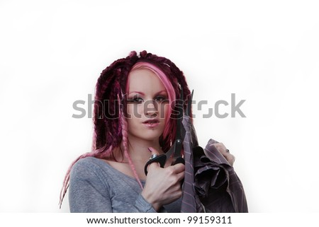 woman with dread lock hair cutting up a mans shirt what did he do to upset her