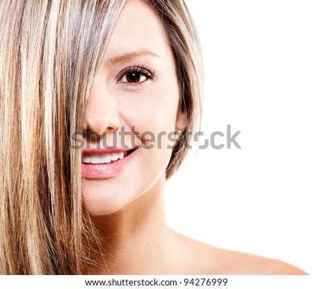 Woman with dyed blond hair - isolated over a white background
