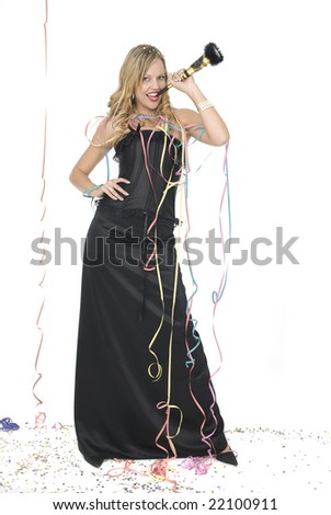 woman with elegant dress laughing at a new year party