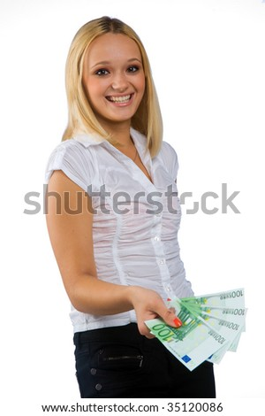 woman with euro money