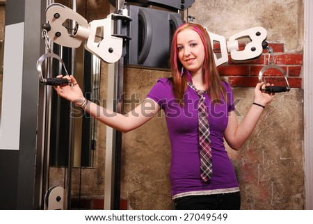 woman with fitness machine