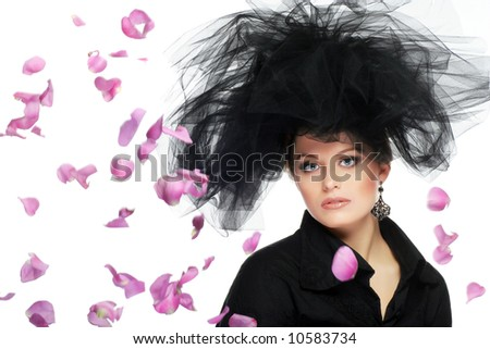 woman with flower petals isolated on white - stock photo