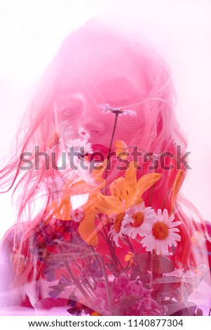 Woman with flowers inside, double exposure. Blonde girl in lingerie on crimson background, dreamy mysterious look. Wildflowers on a background of women with a double exposure on a light background