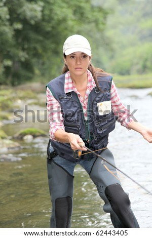 Woman with fly fishing line in river stock photo 62443405 for Women s fly fishing gear