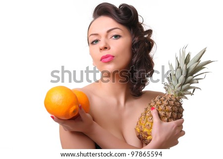 Woman with fruit in their hands. isolated on white