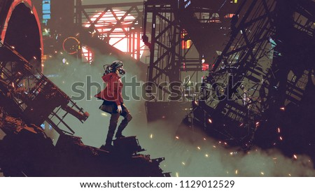 Stock Photo woman with futuristic mask standing in the cyberpunk city, digital art style, illustration painting