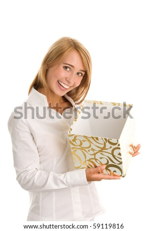 Woman with gift on white background