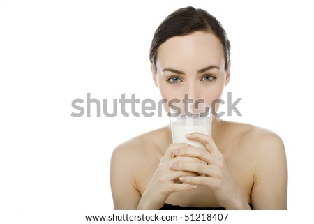 woman with glass milk on white background