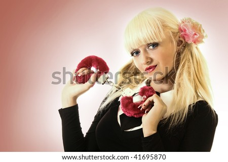 Woman with handcuffs. Image in retro style
