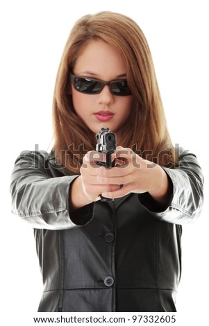 Woman With Handgun isolated on white background