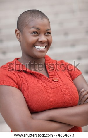 Woman with hands crossed - stock photo