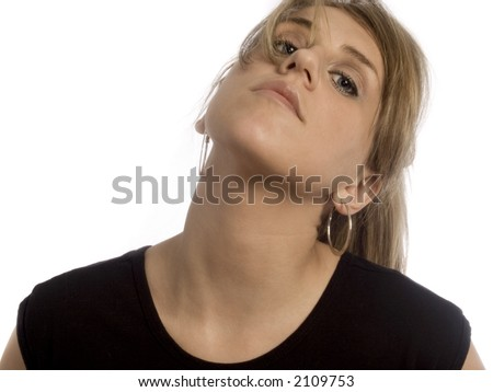 woman with head tilted back