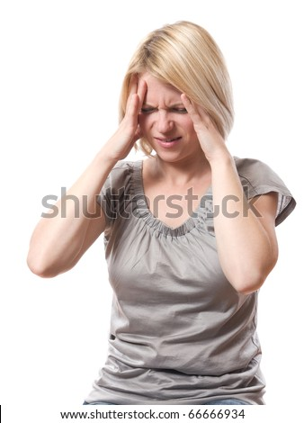 woman with headache holding her head with hands isolated over white