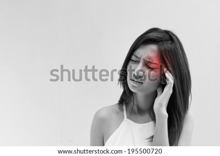 woman with headache, migraine, stress, insomnia, hangover with red alert accent Foto stock ©