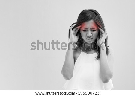 woman with headache migraine stress insomnia hangover with red alert accent