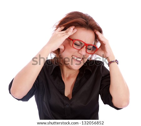woman with headache over white background