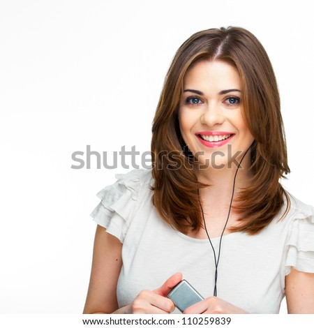 Woman with headphones listening  music on mp3 player. Music teenager girl against isolated white background #110259839