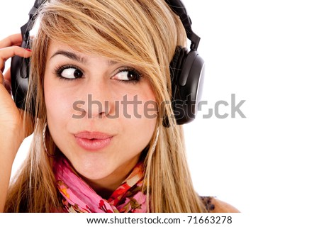 Woman with headphones listening to music - isolated