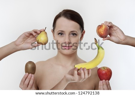 woman with her five a day fruit to eat