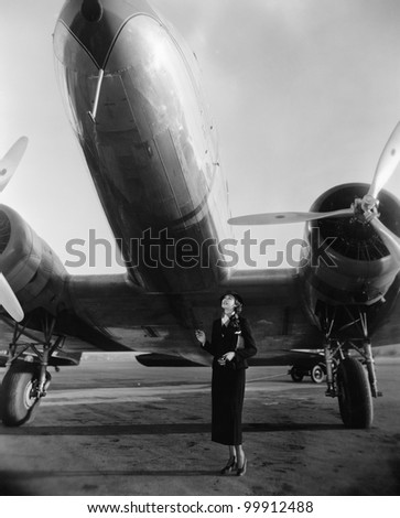 Woman with huge plane