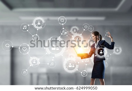 Woman with laptop in hands. Mixed media .  #624999050