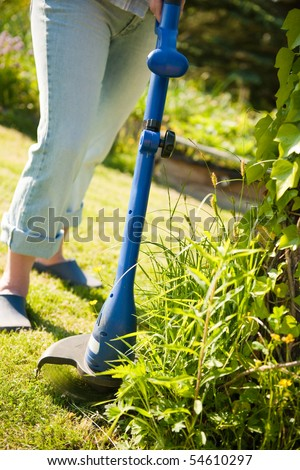 woman with lawn mower in front of back yard