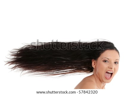 Woman with long hairs isolated on white background