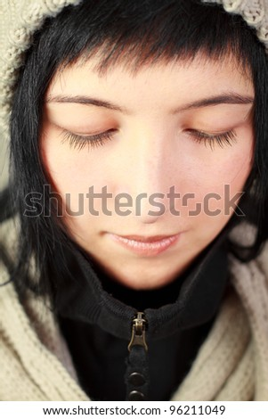 Woman with long lashes - stock photo