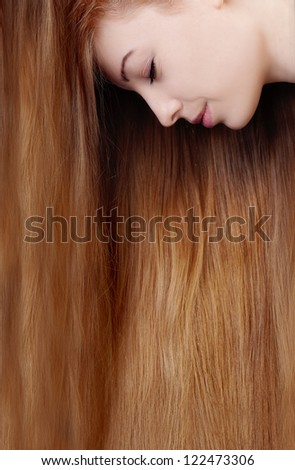 Woman with long luxury hair