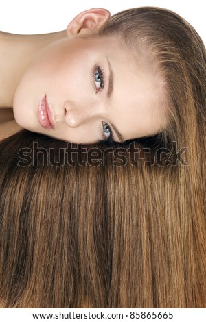 Woman with long shiny brown hair