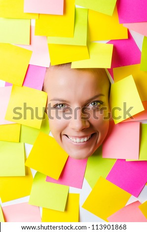 Woman with lots of reminder notes