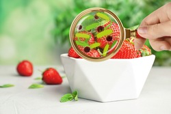 Woman with magnifying glass detecting microbes on strawberries, closeup. Food poisoning concept