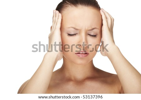 Woman with Migraine Headache holding hands to head