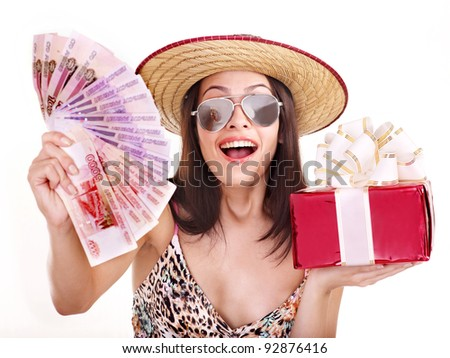 Woman with  money .Russian rouble. and shopping bag. Isolated.