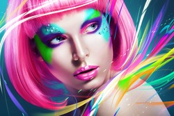 woman with multi lines and pink wig