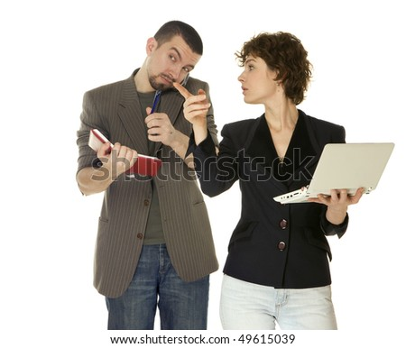 woman with netbooks and man with notebook doing business on white background