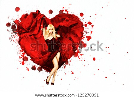 Woman with Painted Splashing Heart
