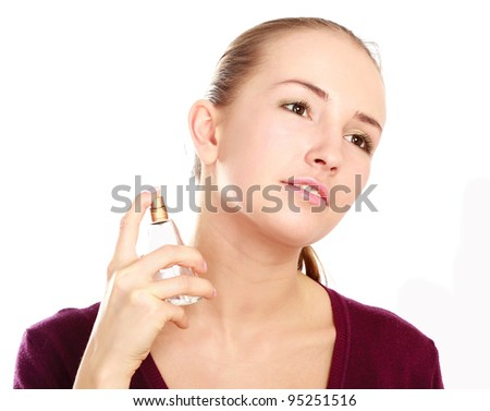 Woman with perfume - stock photo