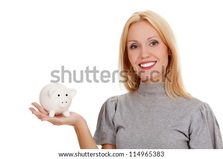 woman with piggy bank, isolated on white